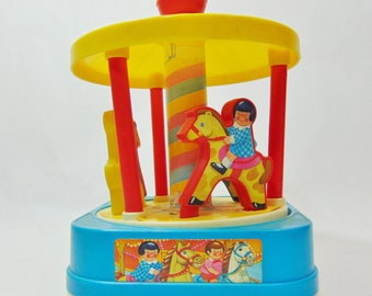 1970s, Chicco, Chicco Toy, Merry Go Round, Merry Go Round Toy, Wind Up Toy, Musical Toy, Musical Gifts, Toddler, Toddler Toy, Vintage Toy