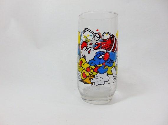 Vintage Drinking Glass Vintage Drinkware Vintage Smurf Smurf Glasses Clumsy Smurf Peyo Smurf 80s Party Retro 80s Retro 80s