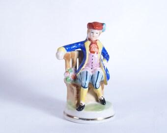 Seated Man Occupied Japan Figurine Vintage Porcelain Figurines Blue Jacket