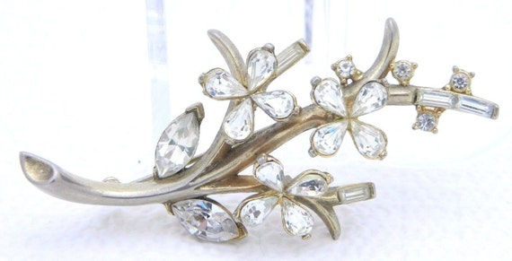 Costume Jewelry ON SALE Signed Trifari Patent Pending Brooch Silver Tone Wreath Brooch with Rhinestones Alfred Philippe Brooch