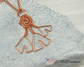 Hammered Copper Wire Leaf Necklace, Copper Ginkgo Leaf Pendant, Wire Wrapped Necklace, Copper Jewelry