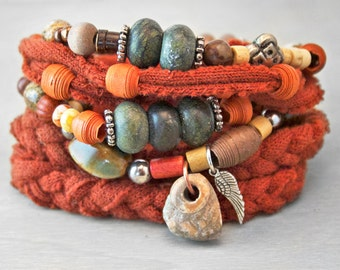 Bohemian Stack Bracelet Set - OOAK Collection - Chunky Layered Upcycled Beads Charms