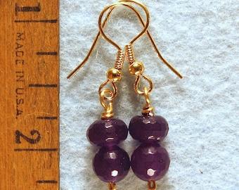 Dark Purple Amethyst Faceted Bead Earrings