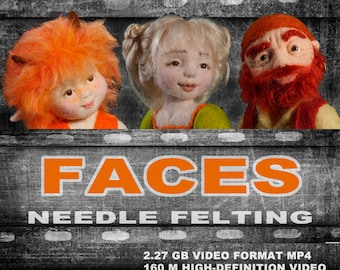DVD with workshops on making faces for needle felted dolls. Needle felted doll. The disc with the video. Art doll tutorial