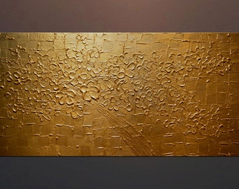 Original Painting Abstract Cherry Tree Blossom in Gold Thick Acrylic Texture Paint 2 feet by 4 feet