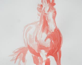Original horse art equine art energy and movement equine horse ink study sketch movement art drawing 'Red II' by H Irvine