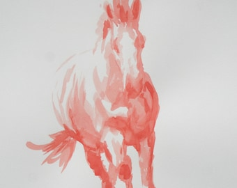 Original horse art equine art energy and movement equine horse ink study sketch movement art drawing 'Red I' by H Irvine