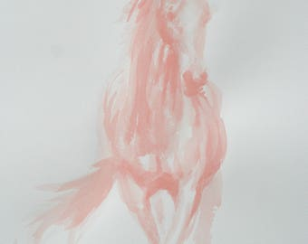 Original horse art equine art energy and movement equine horse ink study sketch movement art drawing 'Red IV' by H Irvine