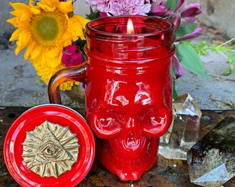 Fire Candle Strength, Courage, Creativity, Transformation Skull Jar Candle Soy Essential Oils  Sacral, Solar Plexus, Root chakras, Babaylan