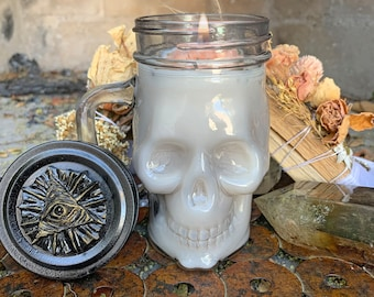 Cleansing Candle Skull Soy Wax Clears Negative energy Healing  w/ rue (ruda), white sage, copal, sweetgrass, & palo santo