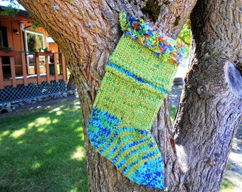 Green and Blue Boa Hand Knit Christmas Stocking