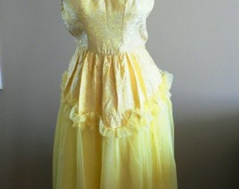 Yellow Disco Dress 70s Vintage Halter Retro Party XS Light