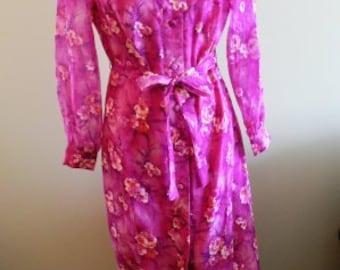 vintage dress ... MAXI 70s SHOCKING PINK Venus Original sweet vintage dress .