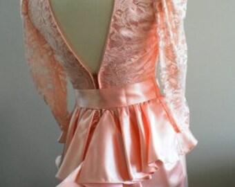 vintage dress ... STUNNING PEACHY PARTY vintage bridesmaid dress ...