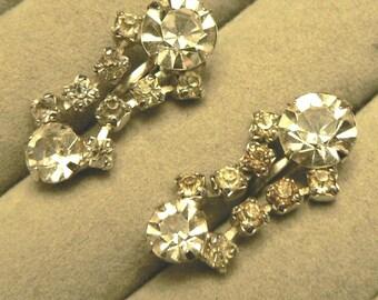 vintage jewels ...  Stunning SILVER RHINESTONE diamond Drop PASTE stones screw back Earrings ...