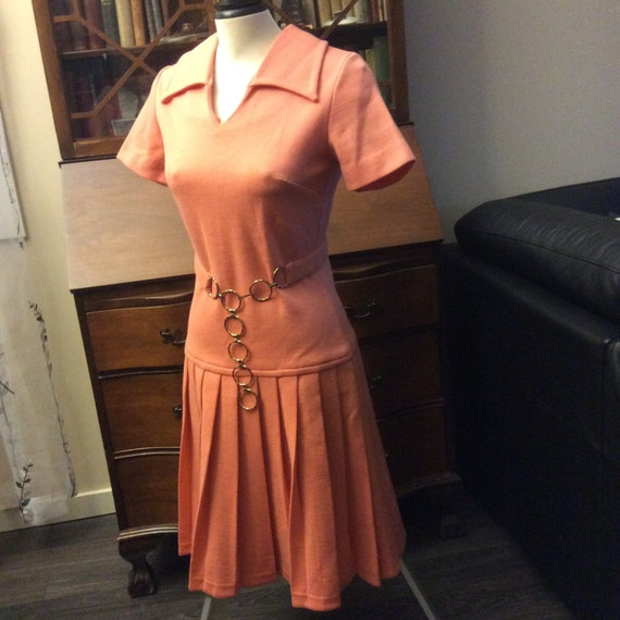 vintage retro dress ... PEACH  FORTREL classic fit
