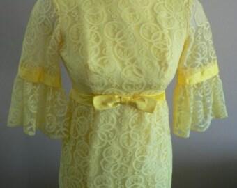 vintage dress ... 50s60s EMPIRE WAIST PRINCESS Sweet ..