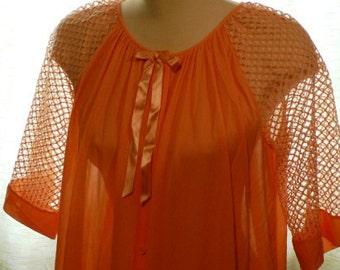 vintage lingerie ...CORAL Lovely Mesh sleeved LINGERIE Neglige Robe ...