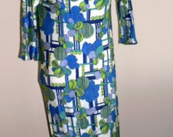vintage retro maxi dress ... FUNKY bright 70s poly fortrel MAXI DRESS   ...