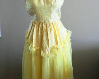 vintage dress ... PARTY PRETTY Vintage soft yellow SWEETHEART dress ...