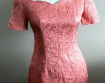 vintage party dress ... Peach Rose BROCADE fitting MAD MEN Office vintage Dress Nostalgia  ...