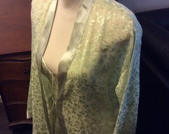 vintage lingerie ...  Velvet and Sheer ROBE NIGHTGOWN LINGERIE Sleep Set Minty Seafoam Green Vintage Sweet ...