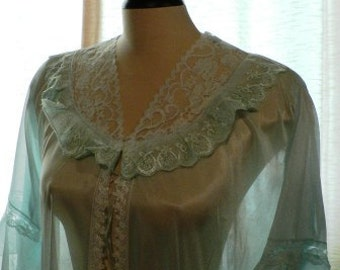 vintage lingerie ... so 70s SEXY SHEER Blue LINGERIE Neglige Robe ...