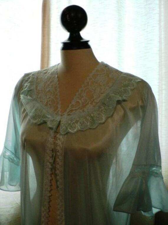 vintage lingerie ... so 70s SEXY SHEER Blue LINGER