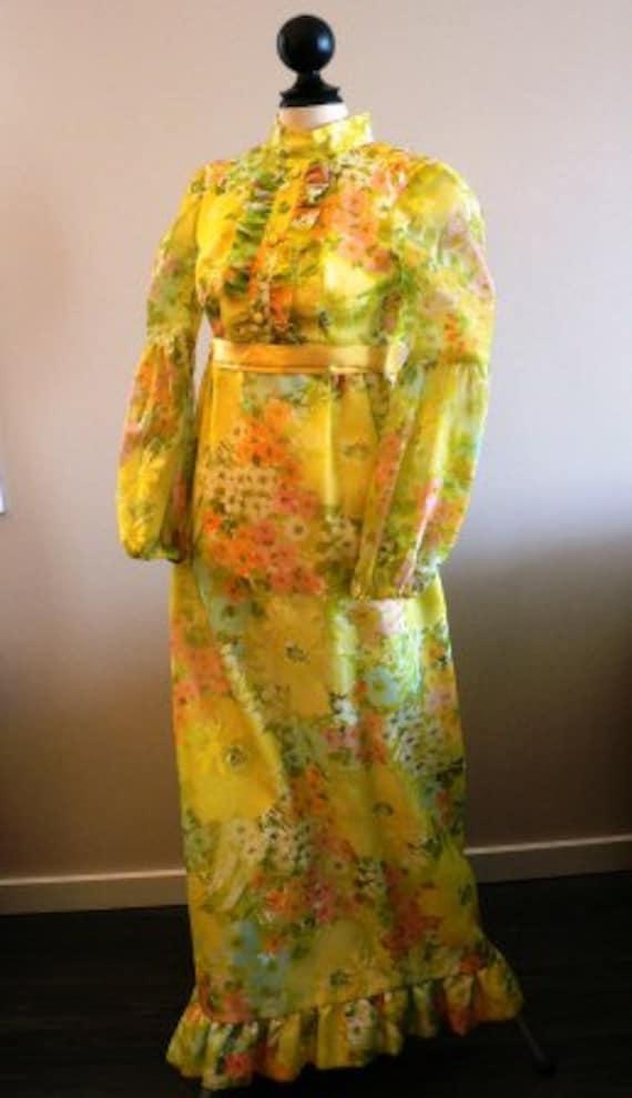 vintage dress ... 70s FLORAL formal SUNSHINE SWEET