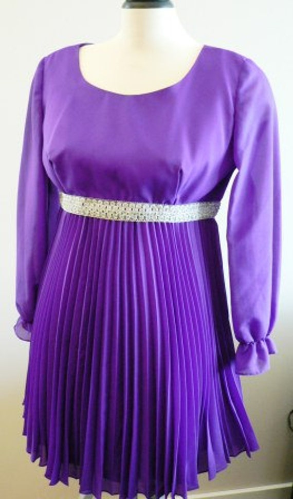vintage dress ... 1960s GOGO PURPLE PARTY Sweet ..