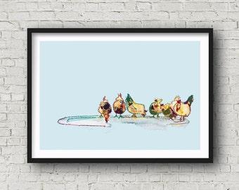6 Chickens - PRINT