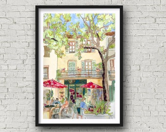 France - Provence - Tourtour - Var - French Cafe Scene - Print