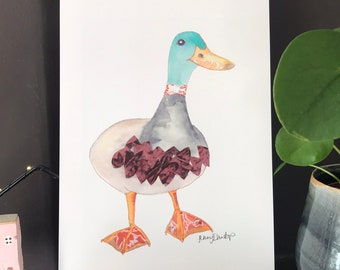 Duck - Mallard - Funny Duck - Mallard Duck - PRINT of original artwork