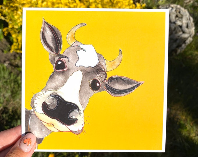 Yellow Cow - Blank Card