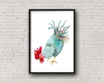 Rooster - Chicken  - Hen - Cockerel - Kitchen Art - PRINT