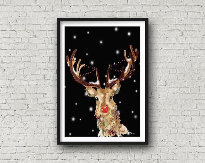 Featured listing image: Red Nosed Reindeer - Reindeer - Rudolph - Print