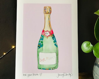 Best Mum - Champagne Bottle - Print