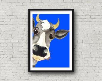 Cow - Boy Cow - Blue - Funny Cow - PRINT of original artwork