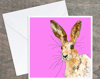 Hare face- Pink Hare - Art Card