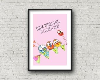 Girl - Baby Birds - Name Art - Birds on Bunting - Baby Girl - Christening - New Baby - Personalised Art - Customise - Baby Gift