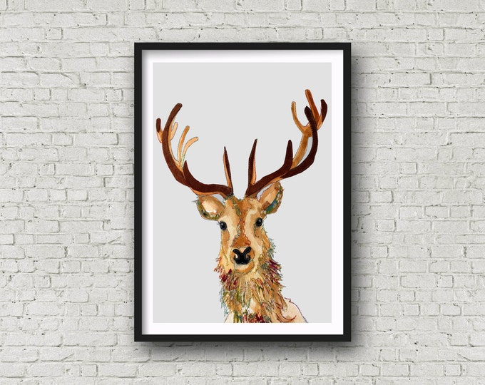 Featured listing image: Deer - Deer with Antlers - Stag - Stags head  -  Print