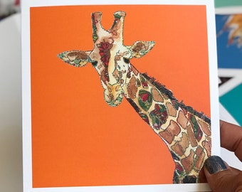 Giraffe - Orange - Art Card