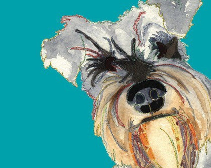 Featured listing image: Cute Dog - Schnauzer Dog - Dog Print