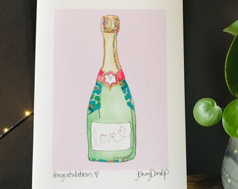 Congratulations - Champagne Bottle - Print