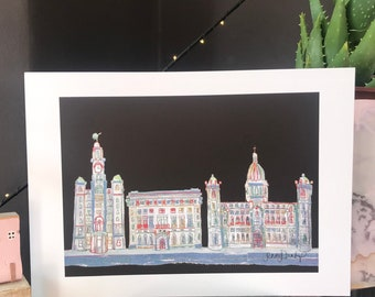 Liverpool - 3 Graces - Pier Head - Liverpool - Liver Building - Port of Liverpool - Print