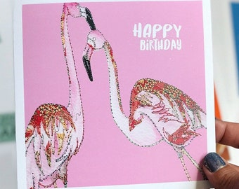 Pink Flamingo - Happy Birthday - Blank inside