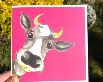 Pink Cow - Blank Card
