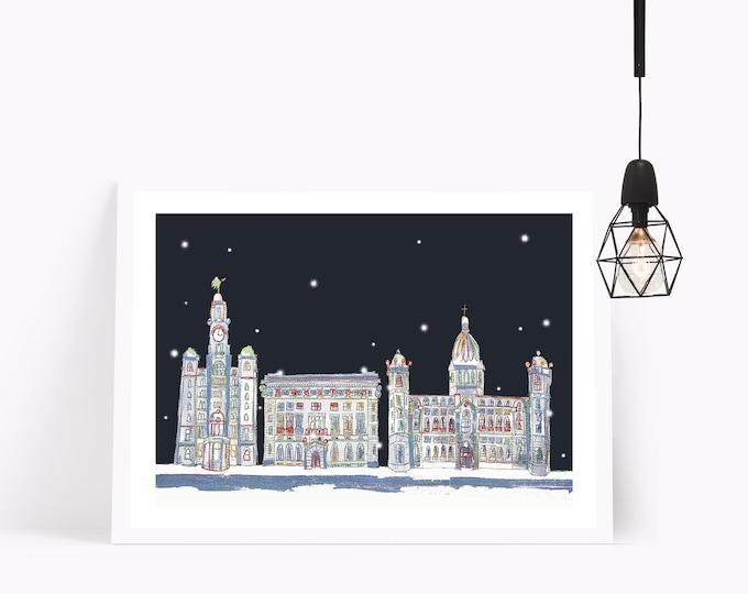 Winter Sky - 3 Graces Liverpool
