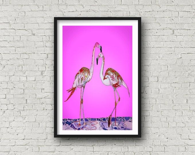 Featured listing image: Pink Flamingo - Flamingo - Pink - Pink Birds - PRINT