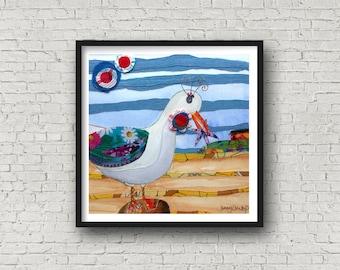 Seagull with Starfish - Hilbre Island - Cheeky seagull - PRINT